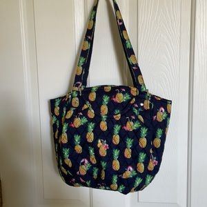 Vera Bradley Glenna Toucan Party Bag Navy with Pineapples.Crabs, Cocktails NWT